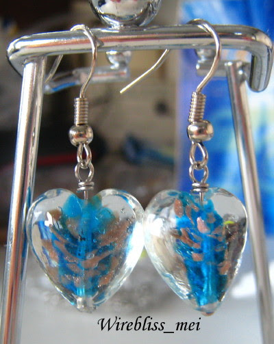 wire wrap earrings with Chinese cloisonne beads