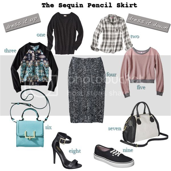 Target Xhilaration gray sequin pencil midi skirt, how to dress up a sequin skirt or dress it down, how to wear a sequin pencil midi skirt