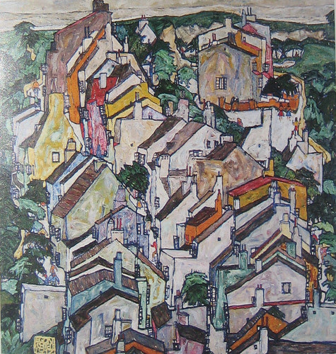 Town Among Greenery (The Old City III) (detail), Egon Schiele, 1917