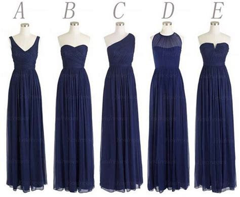 Cheap Multi Style Long Bridesmaid Dress Lovely Navy Blue