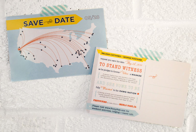 modern map save the date postcard front back 500x338 Melissa Georges Save