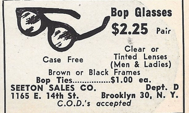 Bop glasses ad featured in  Uncompromising Expression: Blue Note: 75 Years of The Finest in Jazz by Richard Havers