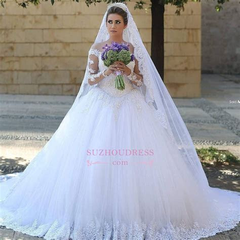 Puffy Tulle Ball Gown Bride Dress Appliques Long Sleeves