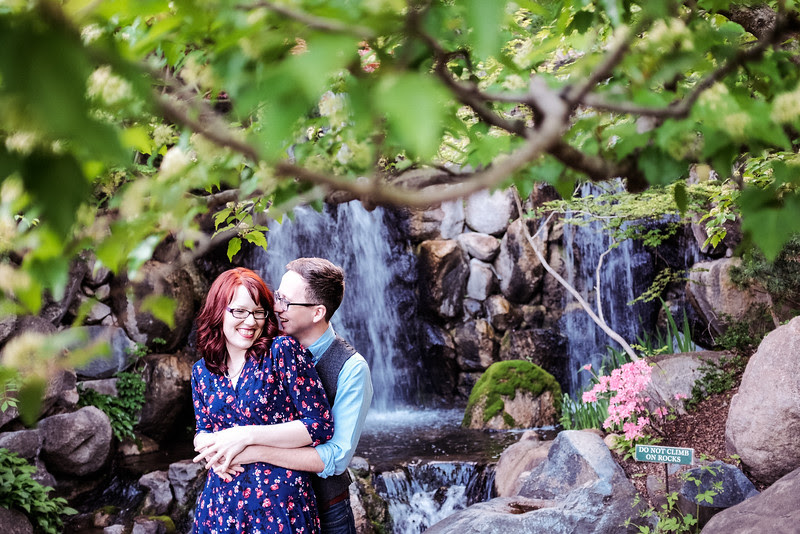 Austin and Sasha's fun  post wedding couple's portrait session at Anderson Japanese Gardens in Rockford, IL.