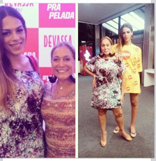 O encontro entre Susana Vieira e Melissa Paixão - a atriz gostou tanto do vestido da moça que ela tirou e ficou de camisão (Foto: Reprodução Instagram)