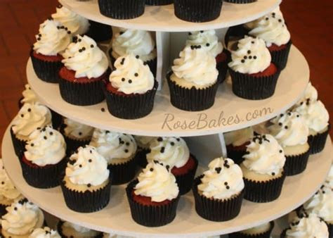 Red, Black and White Wedding Cake and Cupcake Tower   Rose