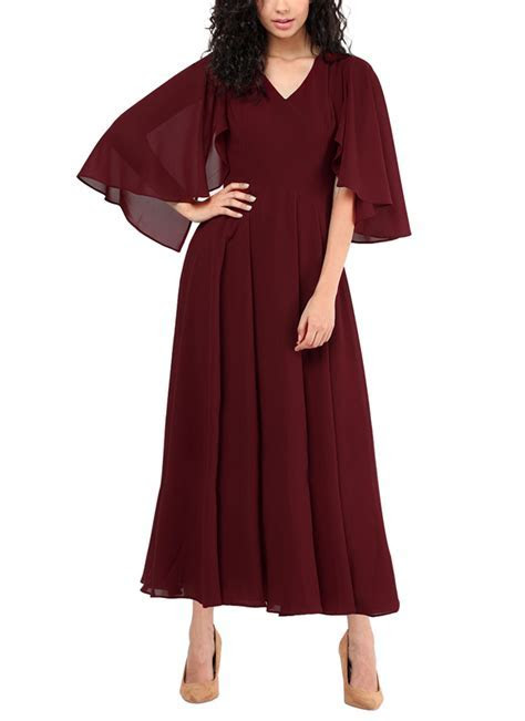 Red Couture   Maroon Coloured Maxi Dress   Shop Dresses at