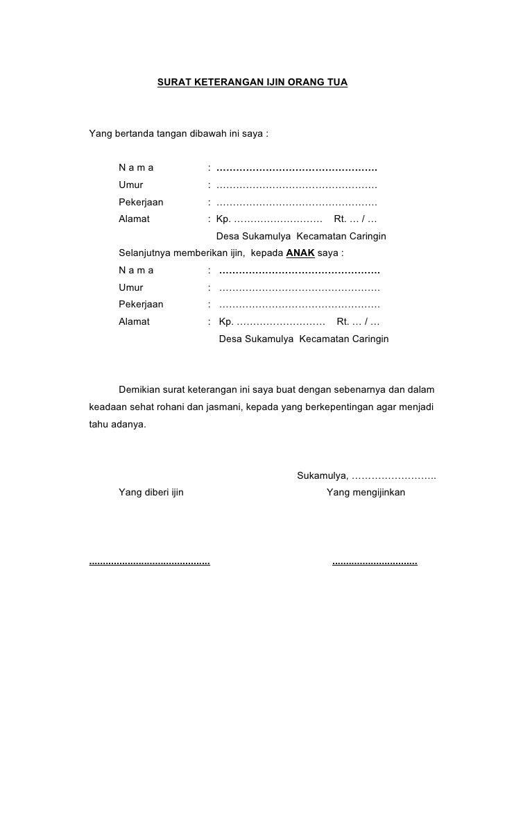 Contoh Surat Pernyataan Orang Tua Untuk Membuat Paspor Contoh Seputar Surat