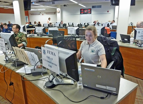 US Forest Service wildland firefighters and interagency crews mobilized to assist with Hurricane Sandy response. Rachel Smith ESF4 Lead at FEMA Region 1 Regional Response Coordination Center Maynard, Mass., on Oct. 30, 2012. US Forest Service photo/Rachael Smith.