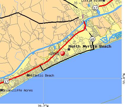 Myrtle Beach Zip Code Map Time Zones Map: North Myrtle Beach Zip Code Map