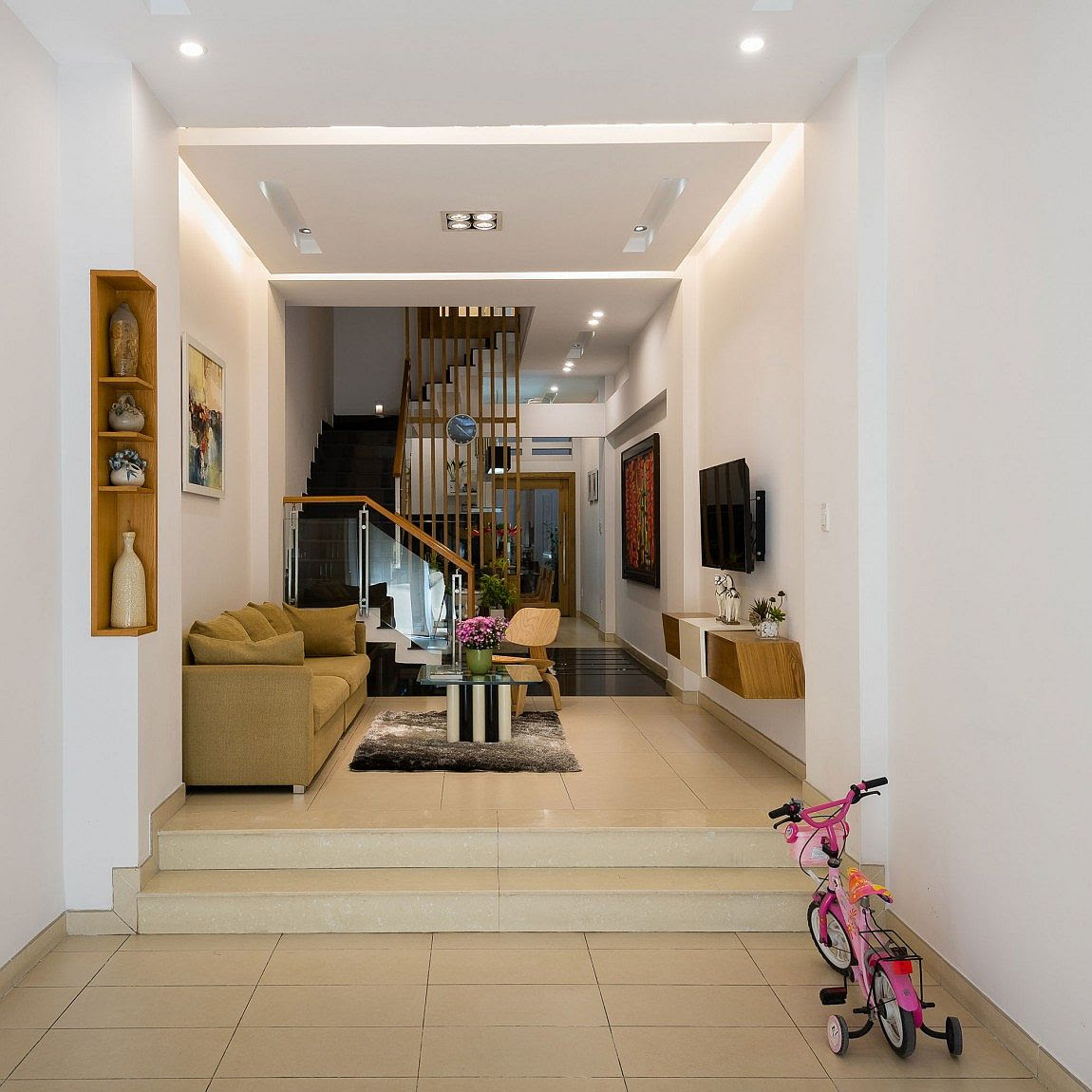 Lower level living area of the modern home in Vietnam