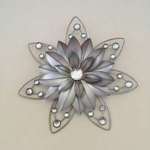 Stunning 30cm Flower Jewelled 3D Metal Wall Art Decor ...