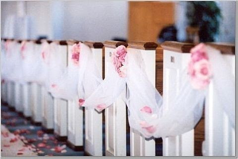 Church and ceremony pew decorations - Wedding Decorator Blog