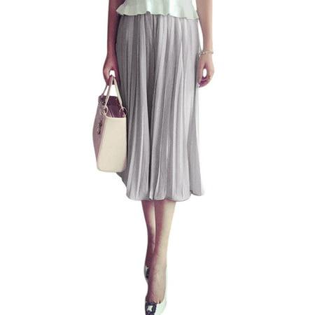 Women's Elastic Waist Pleated Chiffon Wide Leg Capris Pants (Size XS \/ 2)