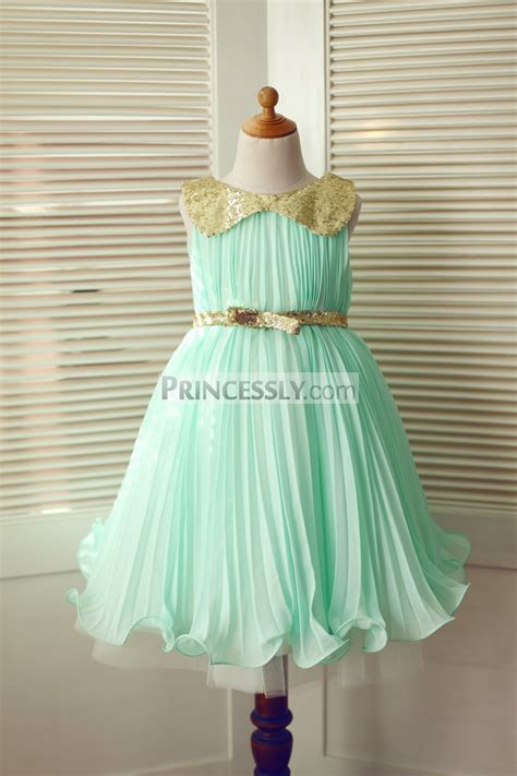 Mint Green Chiffon Gold Sequin Peter Pan Collar & Belt