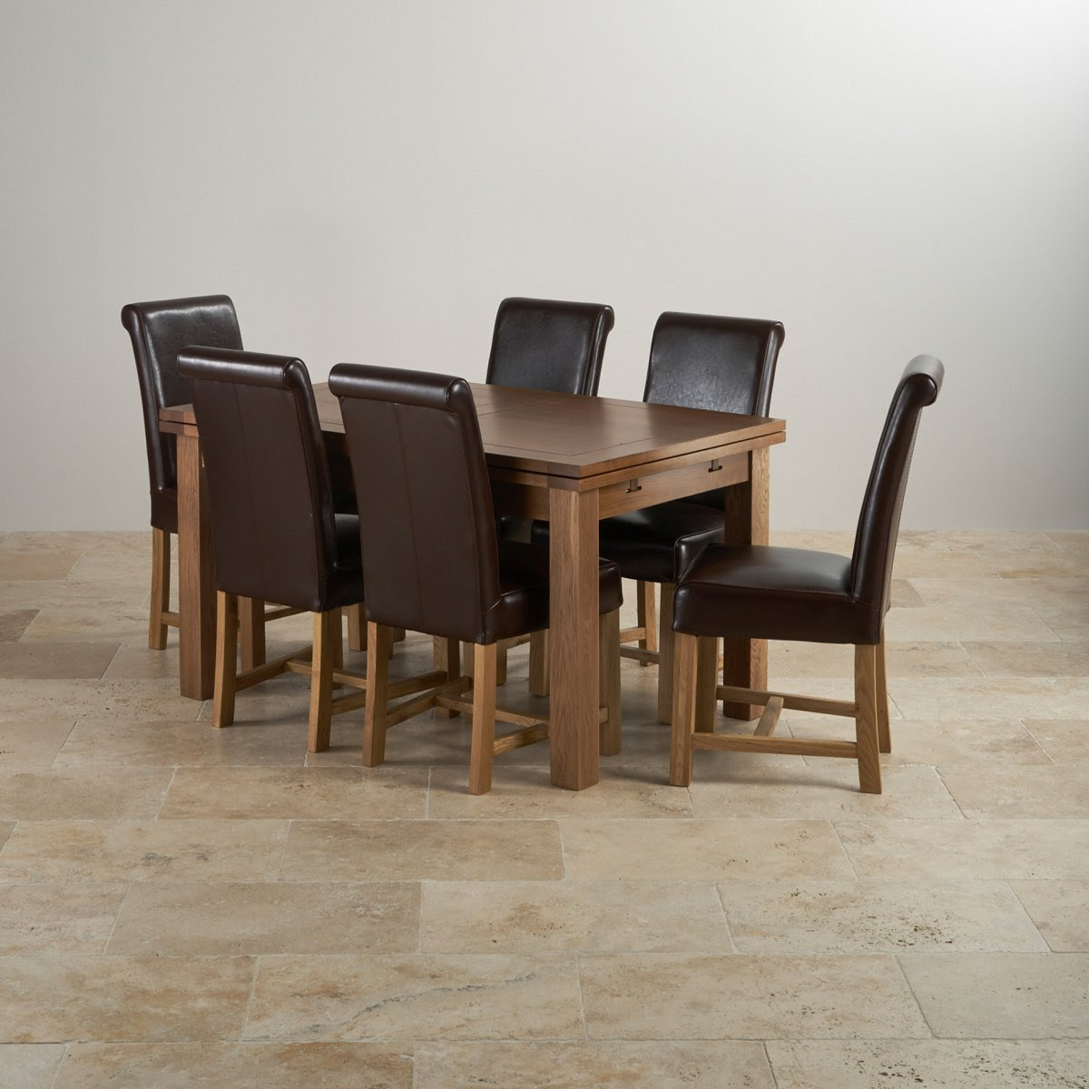 Rustic Oak Extending Dining Set  4ft 7\u0026quot; Table   6 Leather Chairs