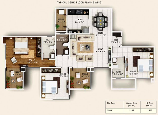 3 BHK Flat 1188 Carpet + Terrace in B Wing of Pebbles II by Abhinav Group & Rainbow Housing, 2 BHK & 3 BHK Flats, behind DSK Toyota Showroom, at Bavdhan Budruk, Pune 411021