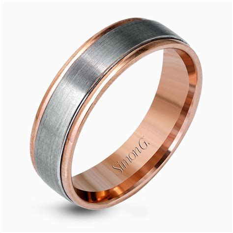 Platinum & 18K Rose Gold Brushed Two Tone Men's Wedding