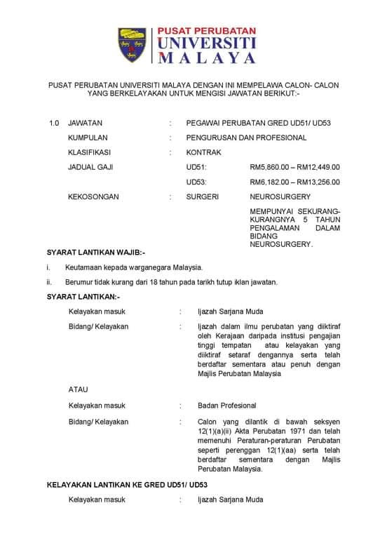 Iklan Jawatan Pusat Perubatan Universiti Malaya (PPUM ...