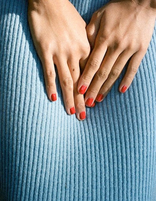 Le Fashion Blog Summer Style Classic Red Manicure Ribbed Blue Sweater Via @MansurGavriel