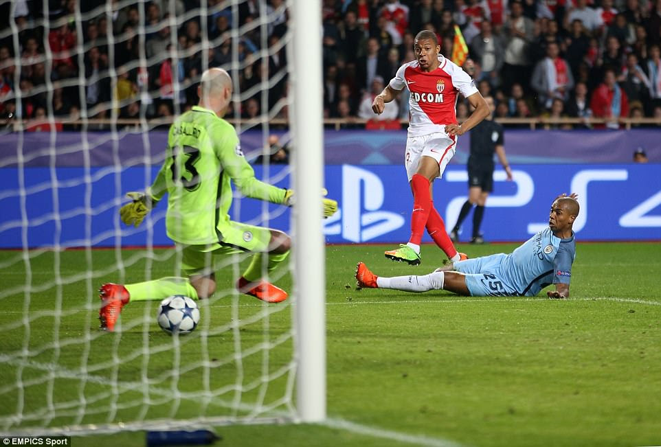 Mbappe thought he had doubled Monaco's lead in the Champions League round of 16 tie but the linesman's flag was up