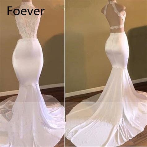 2019 White Lace High Neck Sexy Backless Prom Dresses