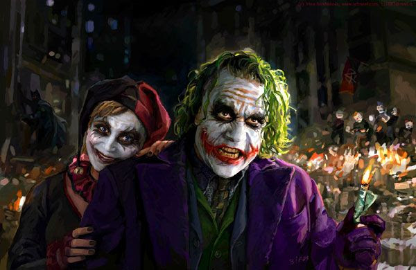 The Joker and Harley Quinn artwork.