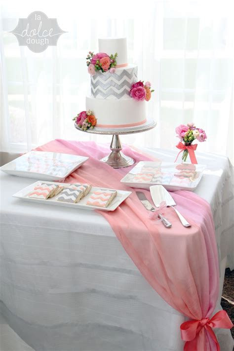 Coral Pink And Silver Chevron Bridal Shower Cake All