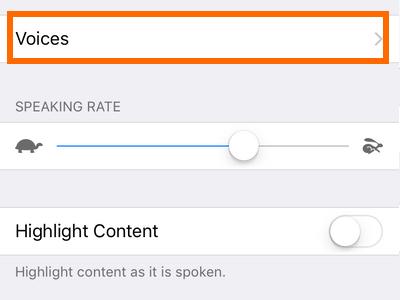 iphone settings Speech rate