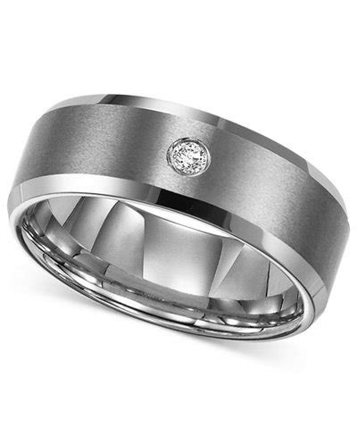 Triton Men's Tungsten Carbide Ring, Single Diamond Accent