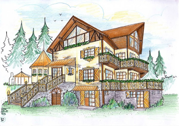 Alpine private chalet amsnion planning variant in the romanien skiing area Sinaia Alpine chalet and villa planning design - rusticale design variant for a romanian manager in the skiing area Sinaia, tendencyful elegant house design in the alpine style