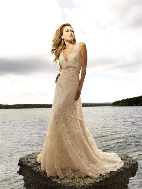 Discount V Neck Lace Champagne Wedding Dress/Beach Gown