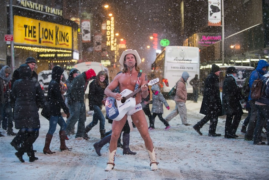 I don't know if it's a good thing or a bad thing, but a heavily aged Naked Cowboy is still going strong in New York City.. Read more here. And reading the weather report, the Naked Cowboy will have plenty more chances for his nipples to cut glass. Lots of cold coming and snowstorms likely over the next two weeks, too..