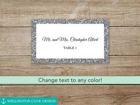 Silver Glitter Wedding Place Cards by WellingtonCoveDesign