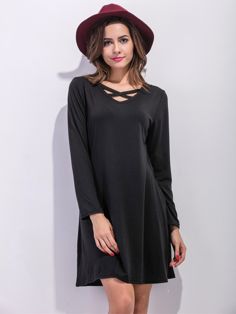 Casual Women Long Sleeve Loose V-Neck Pure Color Dress