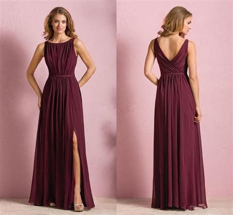 Elegant Cheap Burgundy Chiffon Long Beach Bridesmaid