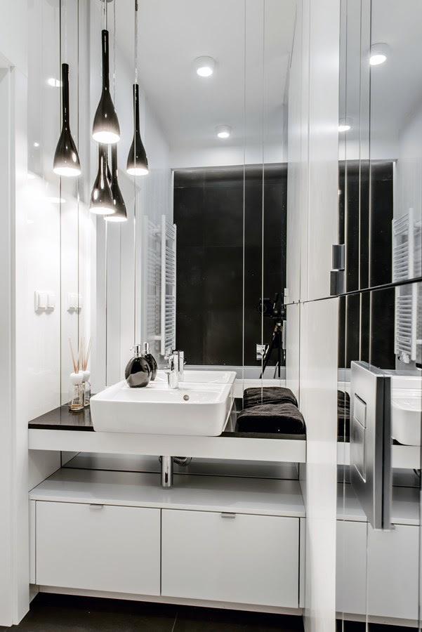 Biało-czarna łazienka - styl nowoczesny - Inspiracja ...