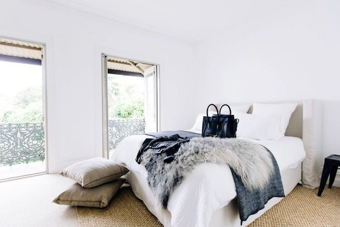 Le Fashion Blog Australian Blogger Brooke Testoni Bright Minimal Home Decor Bedroom Fur Throw French Doors Celine Bag Natural Jute Rug