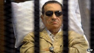 Former Egyptian leader Hosni Mubarak on trial in Cairo, 2 June 2012