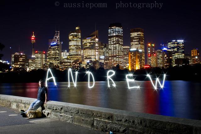 Andrew (blind photographer) with Sydney CBD