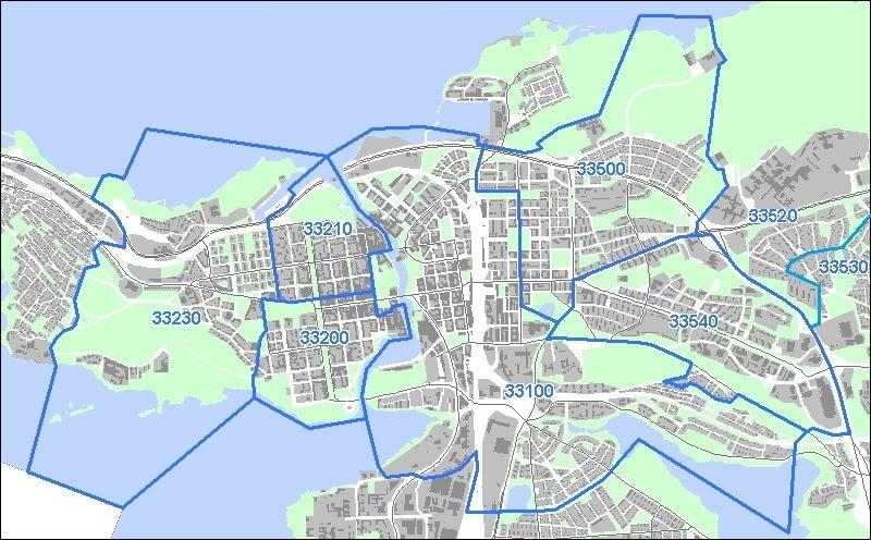 Tampere Kartta Kaupunginosat