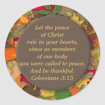 Autumn Leaves Bible Verse-Thankfulness-Sticker Classic Round Sticker