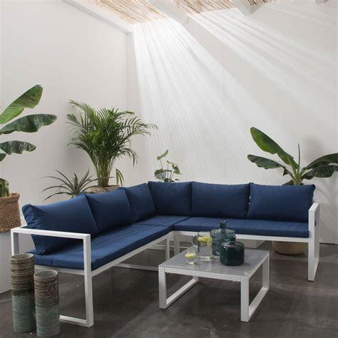 salon de jardin bas dangle aluminium blanc  places