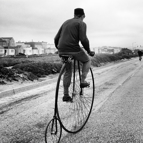Penny Farthing on the Great Highway #inkwell #bikes
