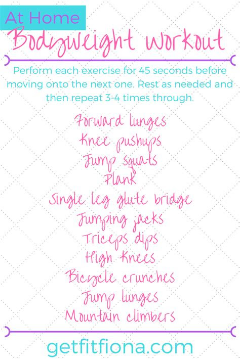 home bodyweight workout  fit fiona