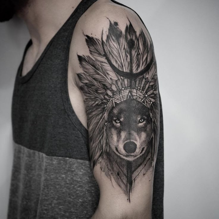 Black Ink Native Wolf Tattoo On Left Half Sleeve
