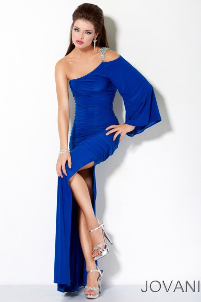 One shoulder long sleeve evening dresses