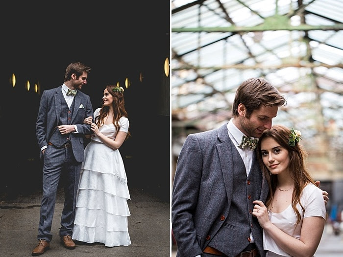 Die Braut trug ein einfaches trennen mit einem Ernte-top und eine layered ruffle maxi skirt