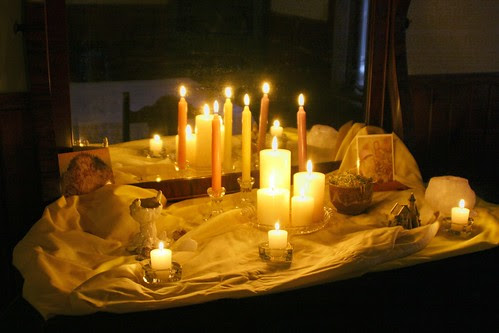 Nature Table Candles Lit