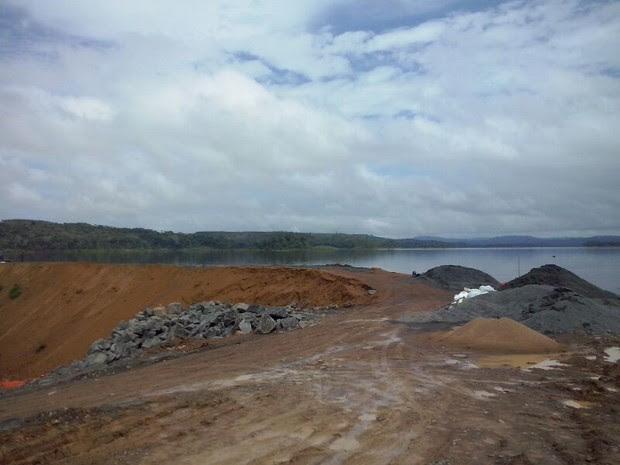 Local do alagamento na Hidrelétrica de Santo Antônio, em Laranjal do Jari (Foto: Francisco Pilha/Arquivo Pessoal)